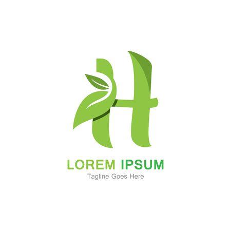 Letter H with leaf logo concept template design