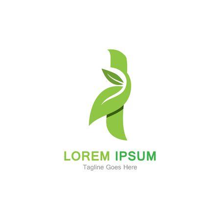 Letter I with leaf logo concept template design