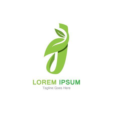 Letter J with leaf logo concept template design Иллюстрация