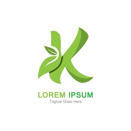 Letter K with leaf logo concept template design