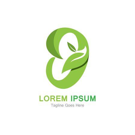 Letter O with leaf logo concept template design Ilustração