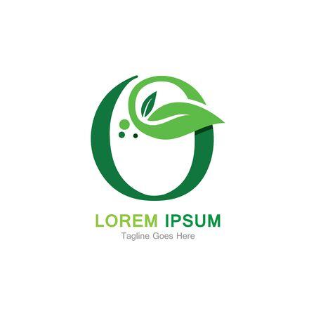 Letter O with leaf  logo concept template design symbol