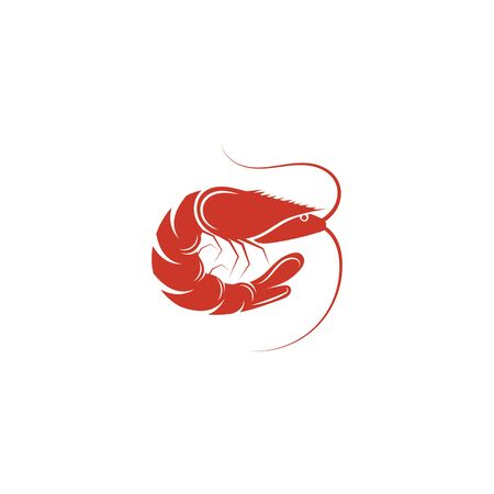 Shrimp vector icon illustration design template