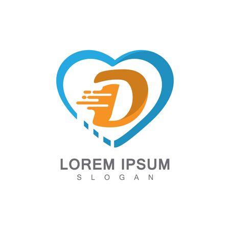 Letter D on LOVE concept logo, symbol template design
