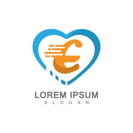 Letter E on LOVE concept logo, symbol template design