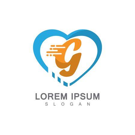 Letter G on LOVE concept logo, symbol template design Иллюстрация