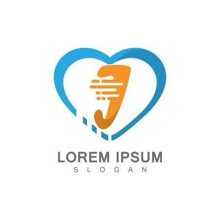 Letter J on LOVE concept logo, symbol template design