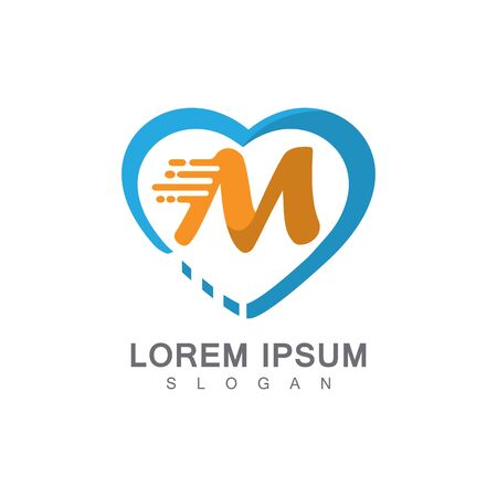 Letter M on LOVE concept logo, symbol template design