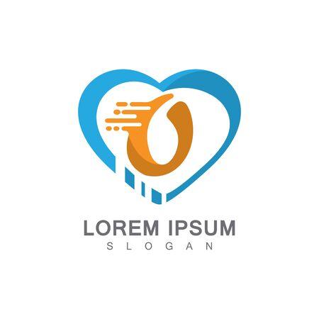Letter O on LOVE concept logo, symbol template design