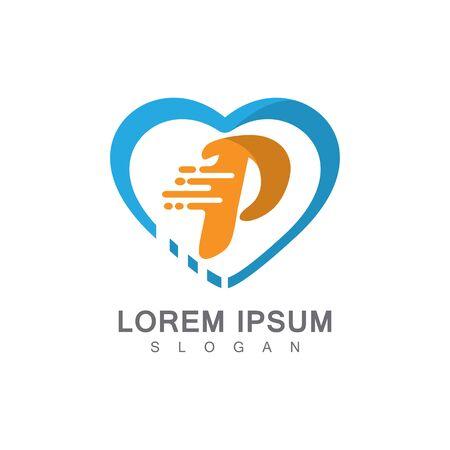 Letter P on LOVE concept logo, symbol template design