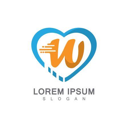 Letter W on LOVE concept logo, symbol template design Иллюстрация