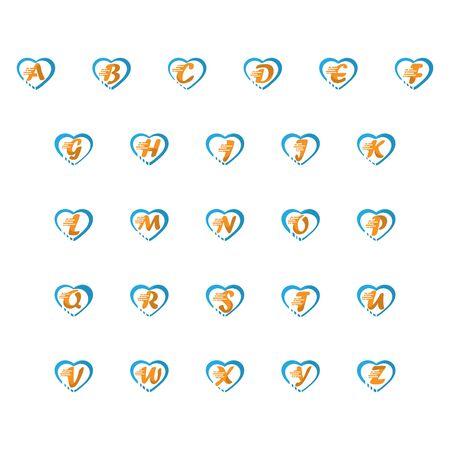 Alphabet on LOVE concept logo, symbol template design Иллюстрация