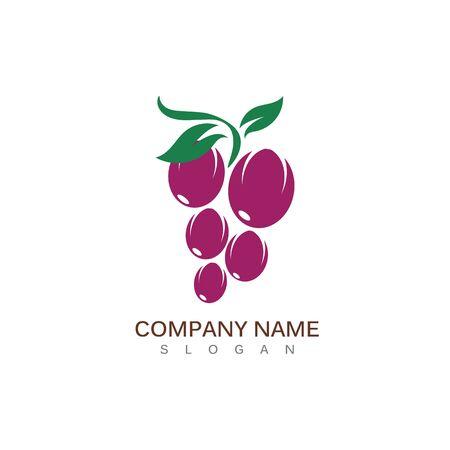 Grape fruit logo flat vector template icon illustration design