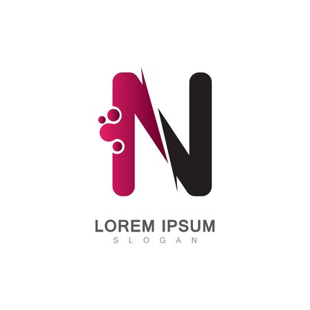 Letter N Icon With Creative design Modern. Vector Illustration Çizim