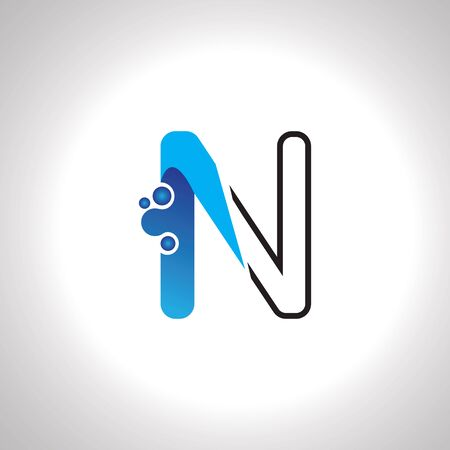 Letter N with Antom Creative logo or symbol template design Çizim