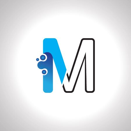 Letter M with Antom Creative logo or symbol template design Çizim