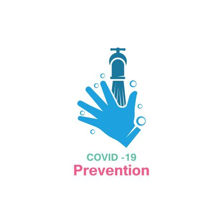 Washing your hands. prevention methods Covid-19, virus corona template vector
