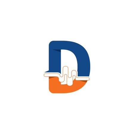 D Letter logo on pulse concept creative template design