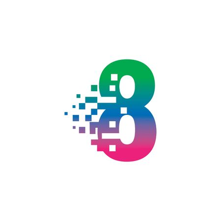 NUMBER 8 with pixel digital logo design gradient concept
