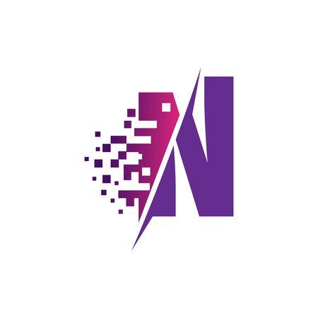 N Letter Design with Digital Pixels in concept strokes Vector Illustration