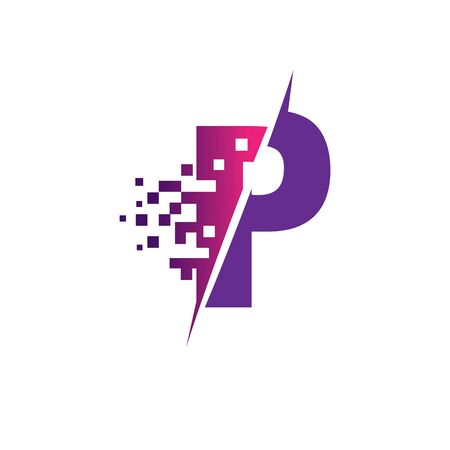 P Letter  Design with Digital Pixels in concept strokes