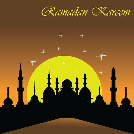 Happy Ramadan kareem islamic design with mosque and moon holy. vector illustration
