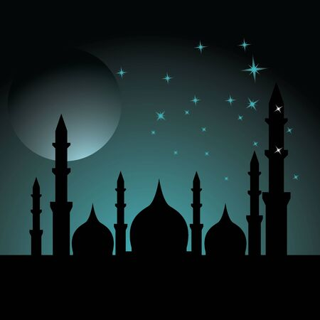 Happy Ramadan kareem islamic design with mosque and moon holy. vector illustration Vettoriali
