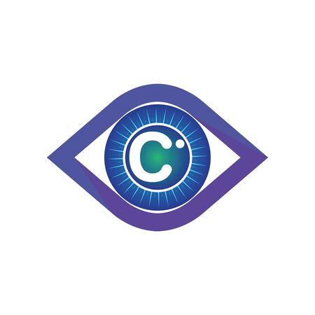 C letter in eye logo or symbol template design