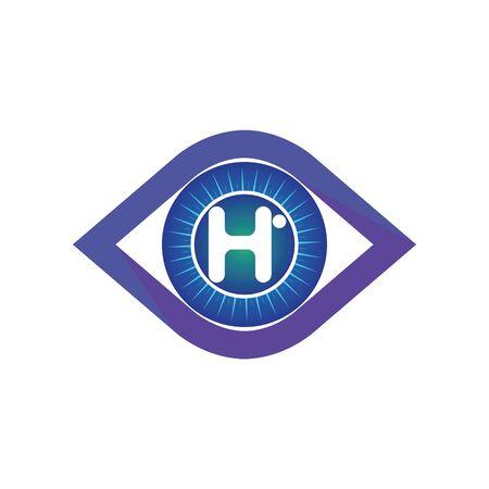 H letter in eye logo or symbol template design