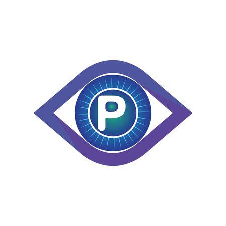 P letter in eye logo or symbol template design