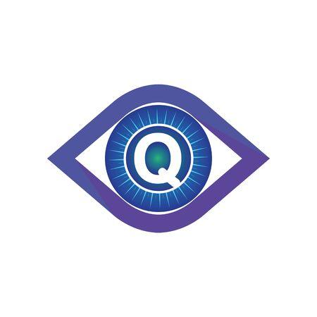 Q letter in eye logo or symbol template design