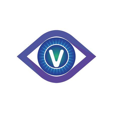 V letter in eye logo or symbol template design
