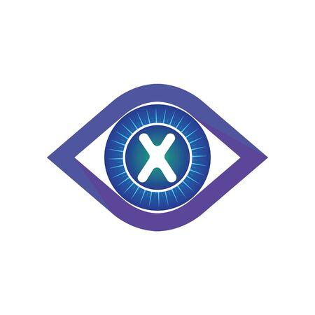 X letter in eye logo or symbol template design