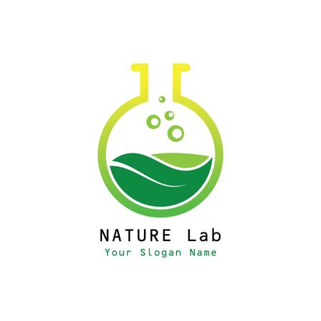 Nature Lab  Design Concept Vector. Creative Lab with leaf  Template