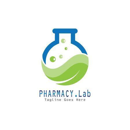 Pharmacy lab with leaf health premium  illustration vector icon