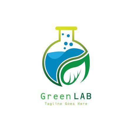 Organic lab with leaf premium  illustration vector icon