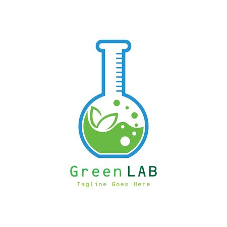 Green Lab  Design Concept Vector. Creative Lab with leaf  Template
