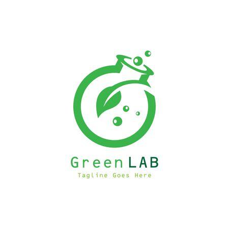 Green Lab Design Concept Vector. Creative Lab with leaf Template Vektorové ilustrace