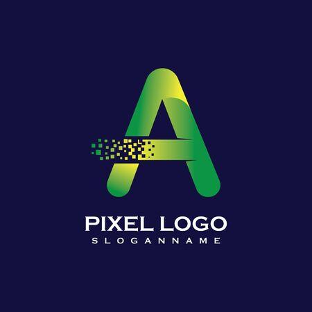 A Letter initial  Design with Digital Pixels gradient Colors