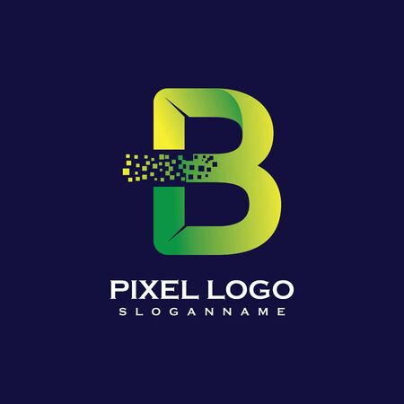 B Letter initial  Design with Digital Pixels gradient Colors