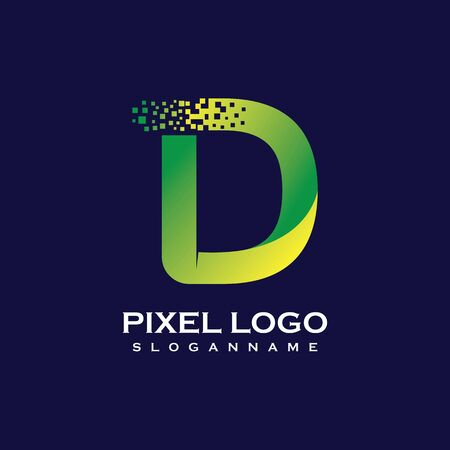 D Letter initial  Design with Digital Pixels gradient Colors Иллюстрация