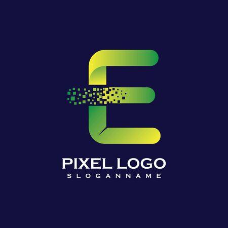 E Letter initial  Design with Digital Pixels gradient Colors Иллюстрация