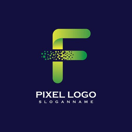 F Letter initial  Design with Digital Pixels gradient Colors