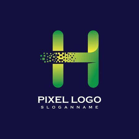 H Letter initial  Design with Digital Pixels gradient Colors