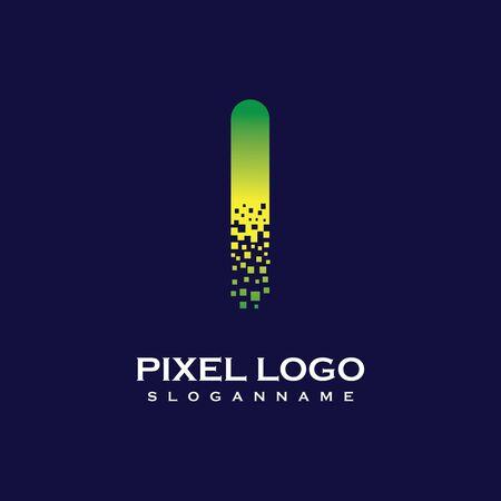 I Letter initial  Design with Digital Pixels gradient Colors