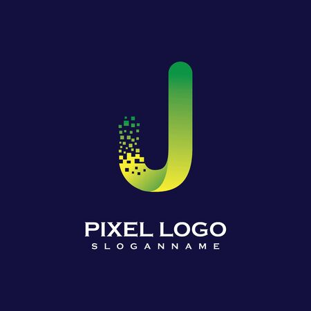 J Letter initial  Design with Digital Pixels gradient Colors Иллюстрация