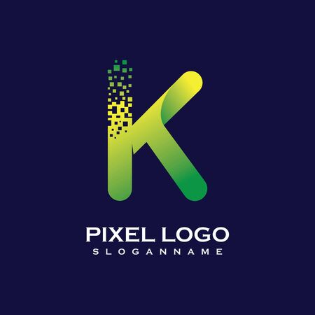 K Letter initial  Design with Digital Pixels gradient Colors