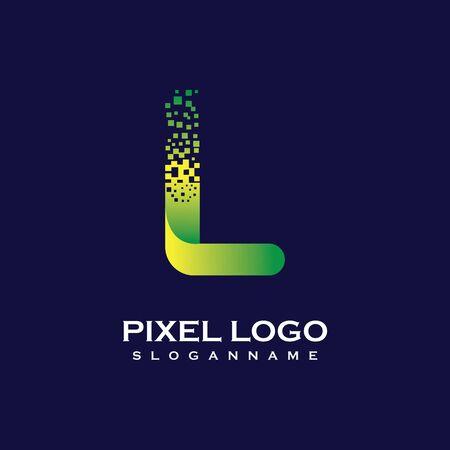 L Letter initial  Design with Digital Pixels gradient Colors