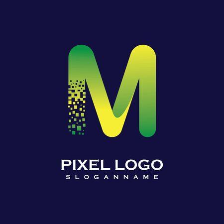 M Letter initial  Design with Digital Pixels gradient Colors Иллюстрация