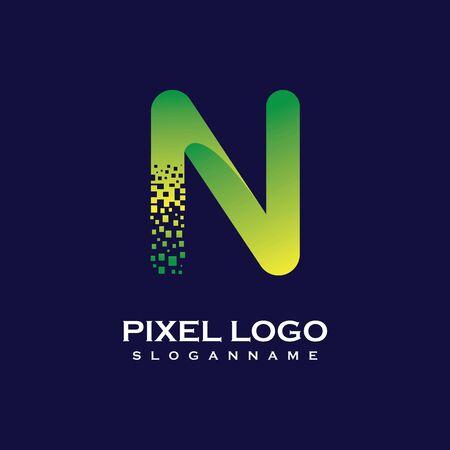 N Letter initial  Design with Digital Pixels gradient Colors Иллюстрация